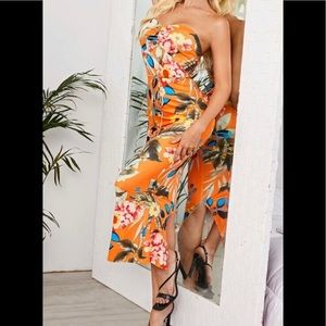 Tropical tube top maxi dress with cut out back